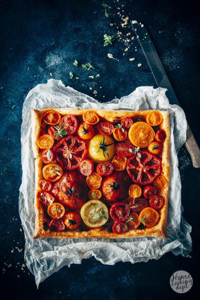 tomatentaart van bladerdeeg / Puffpastry tomaat tarte / Homecooking dept.